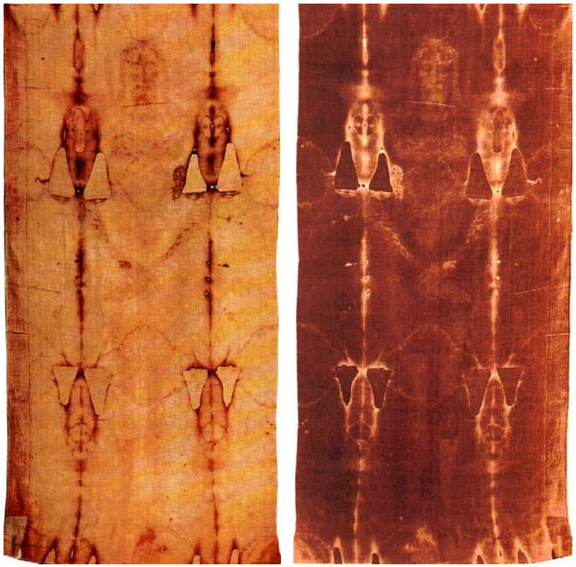 Positive and negative photographies of the Holy Shroud
